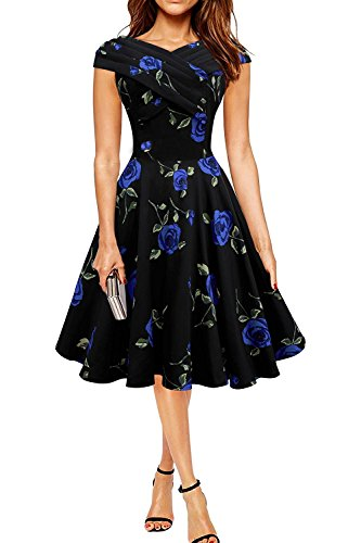 Minetom Damen Vintage Stil Rose Rock-Retro Audrey Hepburn Rockabilly Kleid Blumen Drucken Pin-up Dress Party Kleid Blau DE 40 (Halter Mesh Dot)