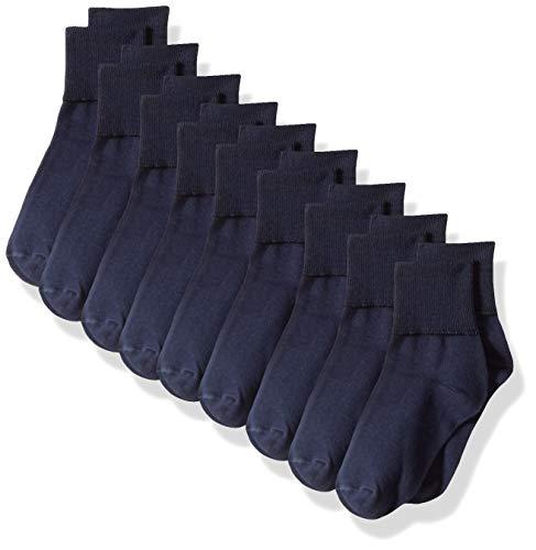 Amazon Essentials 9-Pack Cotton Uniform Turn Cuff casual-socks, Navy, 8 to 11 -