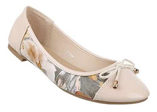 Damen-Schuhe Ballerinas | elegante Slipper mit Schnürung und Blockabsatz in verschiedenen Farben und Größen | Schuhcity24 | Loafers in Lacklederoptik Beige