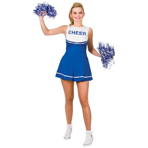 Cheerleader Royal Blue / White Sport Costume Woman Fancy Dress