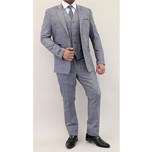 Hommes Mélange Laine Tweed Blazers Gilets Pantalon 3 Pièces Pour By Cavani Gris - BRODI
