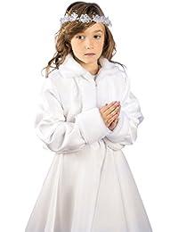 MGT-Shop Mädchen Kommunionbolero Kommunionsbolero Kommunionsjacke Kommunionjacke Cape Bolero Jacke MK-31 weiß