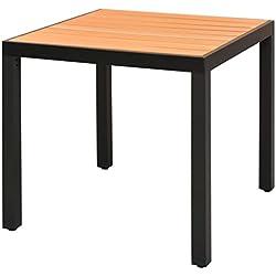 vidaXL Table à Manger WPC Aluminium Marron 80x80x74 cm Table de Jardin Patio