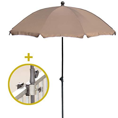 Sonnenschirm + Sonnenschirmhalter - Sonnenschutz für kleine Flächen - Balkonschirm mit passender Schirmhalterung