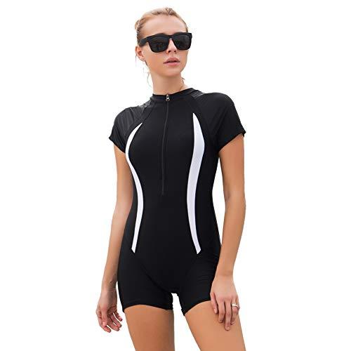 FOCLASSY Bikini Damen Sport Bikini Badeanzug One Piece Long Sleeves Plus Size Reißverschluss vorne Push Up Bademode mit Chest Pad-10129 (Schwarz-Weiss, M/EU 34-36) (Größe Am Besten Plus Kostüm)