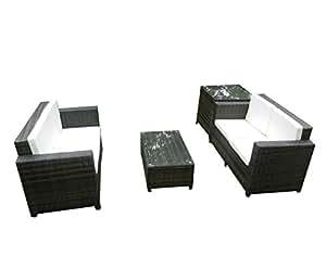 FoxHunter Rattan Gartenmöbel Essgruppe Sitzgruppe für Garten und Terrasse, Wintergarten Weidengeflecht Outdoor Cube5 Mix, braun, Tisch, Stuhl aus Stahl