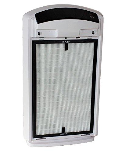 Baren B-H03 Luftreiniger, perlweiß, sehr leise mit HEPA-Filter, PM2.5 Feinstaubsensor, Ionisator, Aktivkohle, Fotokatalyse, UV-Licht, Ozonreinigung und Nacht-Funktion, ideal für Allergiker - 4