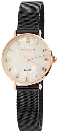 Women's Watch White Titan Look Rose Gold MESCH Strap Analogue Metal Wristwatch