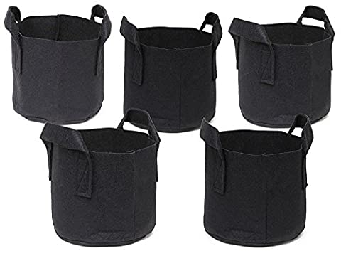 Ndier 5 Pack Plant Growing Bag Planter Bags with Handle Straps Aeration Fabric Pots , Non-woven Breathable Permeable Degradable (Black)