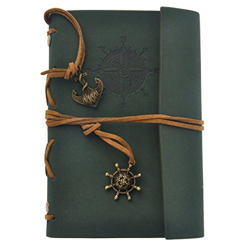 ULTNICE Travel Diary Journal Notebook Handmade Leather Travel Book Classic Retro Ring Binder Private...
