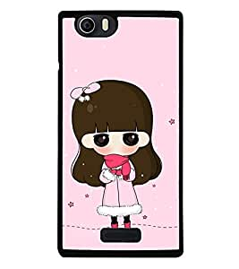 Fuson Premium 2D Back Case Cover Cute Girl With blue Background Degined For Micromax Canvas Nitro 2 E311::Micromax Canvas Nitro 2 (2nd Gen)