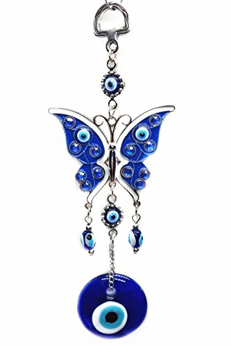 Azul mal de ojo ornamento colgante (con una Betterdecor Pounch) -Butterfly diseño, metal, BDB064