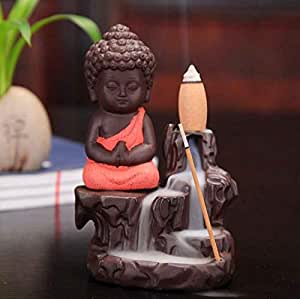 CraftJunction Meditating Monk Buddha Smoke Backflow Cone Incense Decorative Showpiece with 10 Smoke Backflow Cone Incenses (Red)