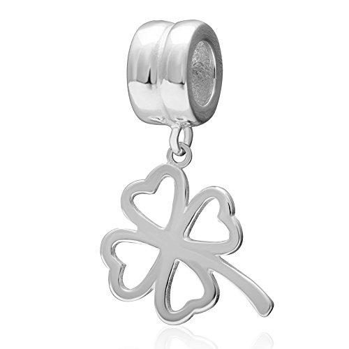 Ciondolo a forma di quadrifoglio portafortuna, ciondolo in argento sterling 925hollow out cuore pandora charms-shining charm
