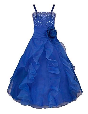 YiZYiF Blumenmädchen Kleid Kinder Mädchen Kleid Festlich Brautjungfer Hochzeit Party Kleid Organza Festzug 92-164 Blau 164