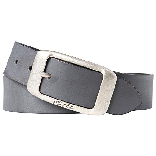 TOM TAILOR für Frauen Belts Leder-Gürtel im Used-Look, Grau / Grey, 100