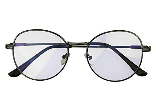 FakeFace Katzenaugen Rund Brille Nerd Brille Halbrahmen Hornbrille Unisex Plain Glass Brille Sonnenbrille