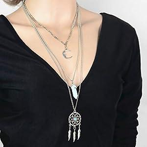 XUHAHAXL Halskette/Europa, Amerika, Mode, Persönlichkeit, Traumnetz, Kristallmond, Viele Kombinationen, Lange Ketten, Pulloverketten.