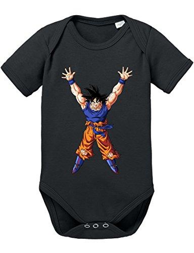 Goku Power Strampler Body Dragon Master Son Ball Vegeta Turtle Roshi Db, Größe:74;Farbe:Schwarz