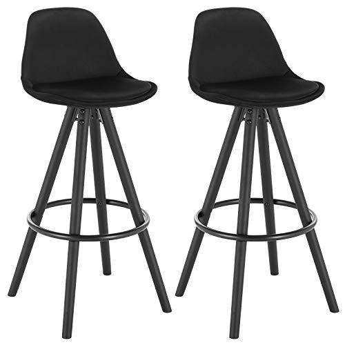 WOLTU® BH197sz-2 2 x Barhocker 2er Set Barstuhl aus Samt Holzgestell mit Lehne + Fußstütze Design Stuhl Küchenstuhl optimal Komfort Schwarz