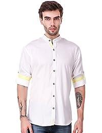 Lafantar Men's Mandarin Collar Casual White Shirt (vxt26,White)