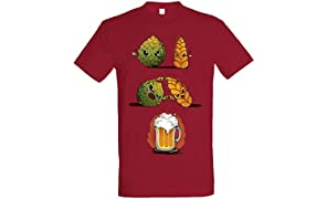 Pampling T-Shirt Beer Fusion - Maglietta Birra - Colore Mirtillo - 100% Cotone - Stampa Serigrafica di Alta qualità