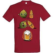 Pampling Camiseta Beer Fusion - Cerveza - Color Cranberry - 100% Algodón - Serigrafía