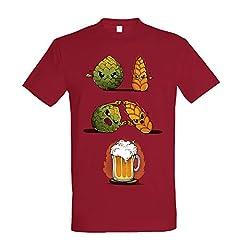 Idea Regalo - Pampling T-Shirt Beer Fusion - Maglietta Birra - Colore Mirtillo - 100% Cotone - Stampa Serigrafica di Alta qualità