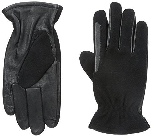 IZOD Men's Wool Touchscreen Gloves with Fleece Lining, Black, Large