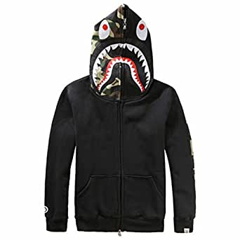 Herren Pullover 3D Hoodie Kapuzenpullover Unisex Kapuzen-Sweatshirt mit Samt Schwarz XXL