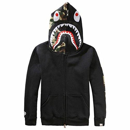 Herren Pullover 3D Hoodie Kapuzenpullover Unisex Kapuzen-Sweatshirt mit SAMT Schwarz M