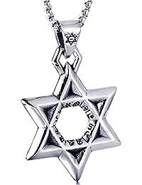 0719b84672ca Blisfille Joyería Collar Étnico Hombre Colgante Hombre Acero Inoxidable  Colgante de Estrella del Hexágono
