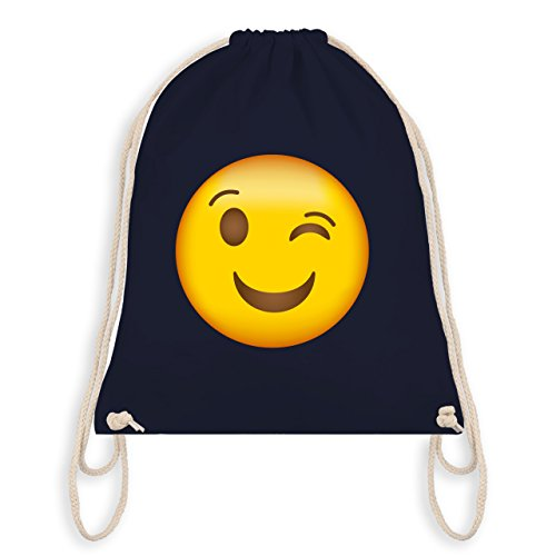 Comic Shirts - Zwinker Emoji - Unisize - Navy Blau - WM110 - Turnbeutel & Gym Bag