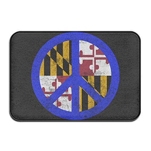 tdoor,Decorative Garden Office Bathroom Door Mat with Non Slip, Inside & Outside Area Rug Floor Mat Maryland Flag Peace Sign Design Pattern for Dining White ()
