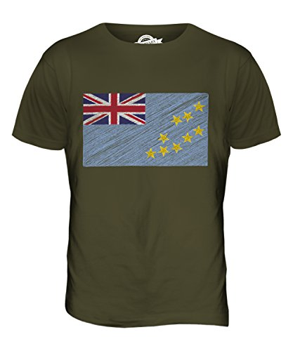 CandyMix Tuvalu Kritzelte Flagge Herren T Shirt Khaki Grün