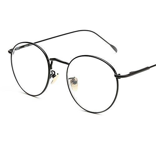 Unisex Ovale Montatura Occhiali da Vista, Alxcio Neutral Retrò Aviatore Occhio Frame Occhiali in Metallo Occhiali Decorativo con Lenti Trasparenti per Uomo Donna (Stile 3)