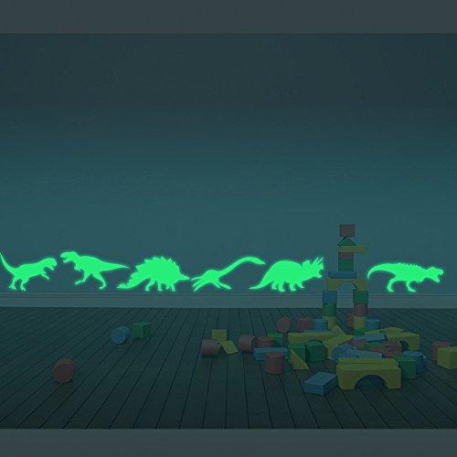 ufengke® 9 Piezas Dinosaurios Pegatinas de Pared Fluorescencia Brillan en la Oscuridad, Vivero Habitación de los Niños Removible Etiquetas de la Pared Murales