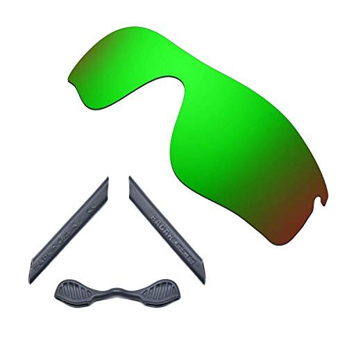 HKUCO For Oakley Radarlock Path Green Polarized Replacement Lenses And Grey Earsocks Rubber Kit