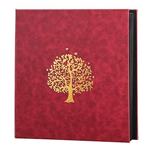 800-Blatt-Fotoalbum mit großer Kapazität, 6 x 4 Zoll Interstitial-Innenseite in Schwarz, Rekordbuch für Kinderfamilien, 33,5 x 36 cm (13,2 x 14,2 Zoll) (rot)