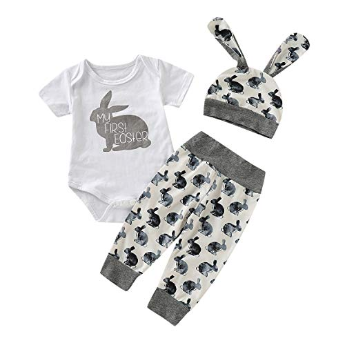 Neugeborenes Baby Boy Cartoon Erste Ostern 3D Kaninchen Druck Outfits Romper + Pants + Hat Set (Grau,90) ()