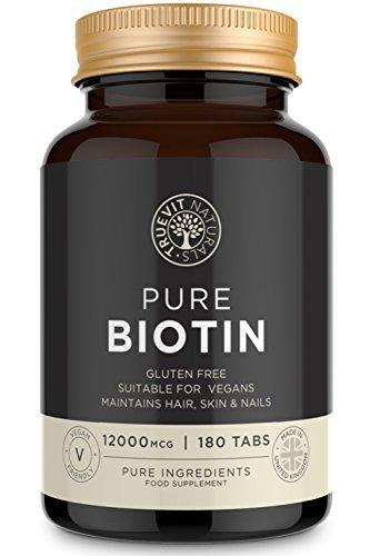 Biotin Haarwuchsmittel für Frauen und Männer, 12.000 mcg, hochdosierte Haar Vitamine, 180 Biotin Haarwuchs Tabletten - vegan - TrueVit Naturals