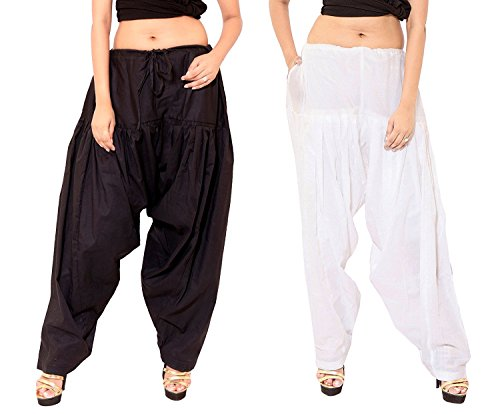 MRV Fashion\'s Ready Made Fully Stitched Plain Cotton Semi Patiala Salwar for women/ Girls In White & Black Combo (Pack Of 2) (Black & White)