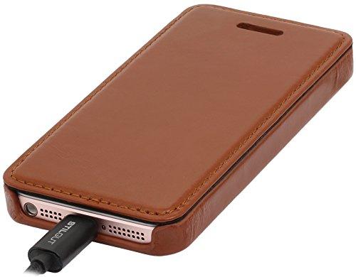 StilGut Book Type sans clip, housse en cuir pour Apple iPhone 5, 5s & iPhone SE, en cognac Cognac - sans clip