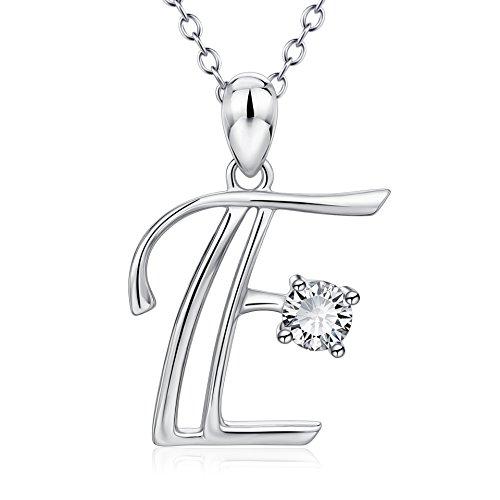 Sterling Silber Zirkonia Alphabet Initial 26 Brief Anhänger Halskette personalisierte Schmuck Geschenk, 18