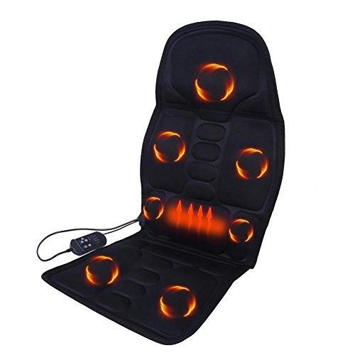 Elektrische Auto Sitzkissen Beheizbar Sitzauflage mit 8 Massage-Modi Wärmefunktion und Shiatsu Vibrationmassage Tiefenmassage für Rücken Hals Lendenwirbel, Massagesitzauflage Rückenmassagegerät Ganzkö(EU)