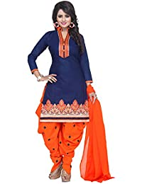 Taboody Empire Impressive Designer Blue & Pink Cotton Embroidered Attractive Straight Patiyala Salwar Suit For...