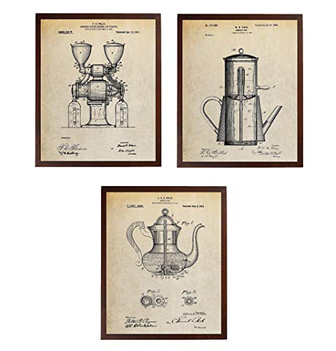 Turnip Designs TDP1166 Kaffee-Grinder Pot Patent Print Kaffee Poster Küche Wall Art Vintage Coffee Grinder Blueprint Art Vintage Coffee Grinder