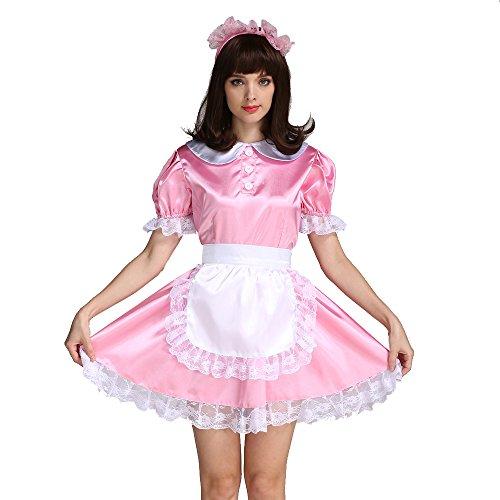 GOceBaby Maßgeschneiderte Sissy Mädchen Dienstmädchen Rosa Satén Kleid Kostüm (XXL) (Rosa Satin Mädchen Kostüm)