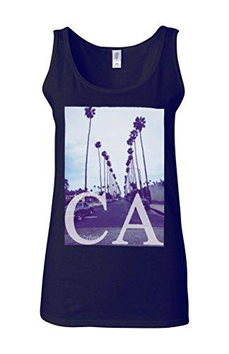 California CA Palm Springs Trees Novelty White Femme Women Tricot de Corps Tank Top Vest Bleu Foncé
