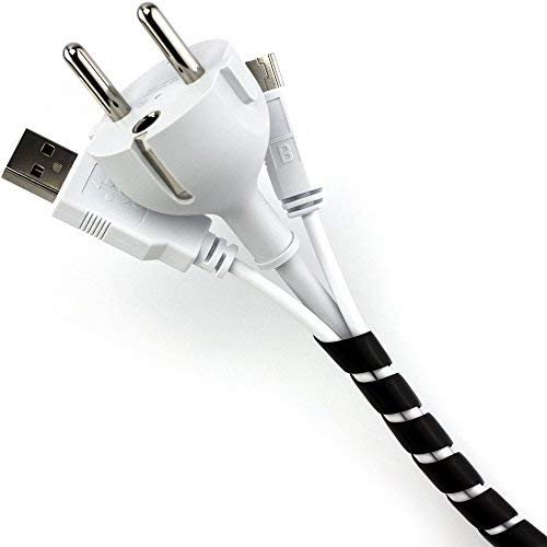 Purovi® Cache Câble Universel en Spirale, Tuyau en spirale 6 mm - 60 mm - Longueur : 10 m (noir)